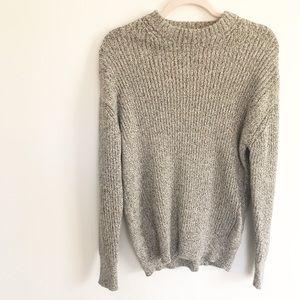 Bershka Mock Neck Heather Gray Knit Sweater
